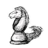Cheval esquissé tiré par la main d'échecs illustration de vecteur