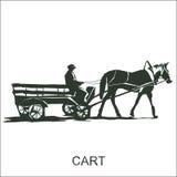 Cheval et chariot de silhouette avec le cocher Photographie stock libre de droits