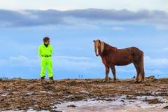 Cheval et homme en Islande Images libres de droits