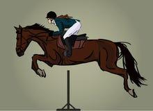 Cheval et jockey sautant, image Photographie stock libre de droits