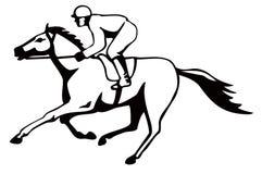 Cheval et jockey sur un gain Image libre de droits