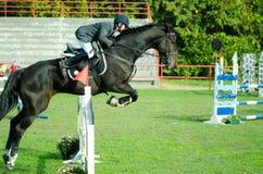Cheval noir et saut de tour de jockey de jeune homme beau au-dessus de la fourche dans le sport équestre noir et blanc avec Octob Photographie stock