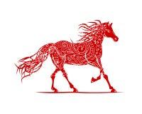 Cheval rouge avec l'ornement floral pour votre conception. Photographie stock