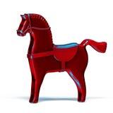 Cheval rouge en métal de jouet sur le blanc Image stock