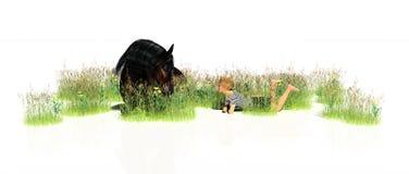 Cheval se couchant avec l'enfant illustration stock