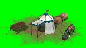 Cheval, tente médiévale et vieux chariot en bois sur le fond vert Photos libres de droits