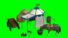 Cheval, tente médiévale et vieux chariot en bois sur le fond vert Photo libre de droits