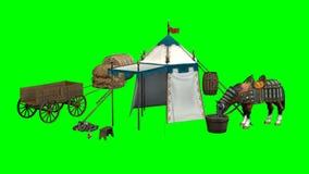 Cheval, tente médiévale et vieux chariot en bois sur le fond vert Photos stock