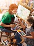 Chevalet de peinture d'artiste dans le studio Grand-mère et enfants authentiques images libres de droits