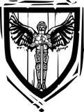 Chevalier à ailes par bouclier héraldique Photographie stock