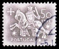Chevalier à cheval du joint du Roi Dinis, phoque équestre de serie du Roi Diniz, vers 1953 photos stock