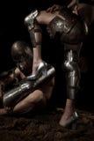 Chevalier avec la jambe femelle Image libre de droits