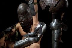 Chevalier avec la patte femelle Photo libre de droits