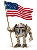 Chevalier avec le drapeau des Etats-Unis Photo libre de droits