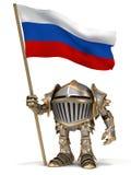 Chevalier avec le drapeau russe Image stock