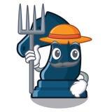 Chevalier d'échecs d'agriculteur dans la forme de mascotte illustration libre de droits