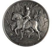 Chevalier de bas-relief, mort et le diable images stock