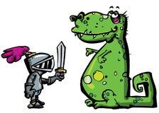 Chevalier de dessin animé dans l'armure faisant face à un dragon Image stock