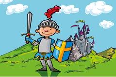 Chevalier de garçon de dessin animé devant un château Photographie stock libre de droits