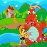 Chevalier et dragon par la rivière Photographie stock