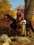 Chevalier et Madame rouges illustration stock