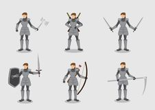 Chevalier féminin avec des caractères de vecteur d'armes illustration de vecteur