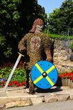 Chevalier floral avec l'épée et le bouclier Photos libres de droits