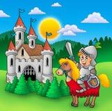 Chevalier sur le cheval avec le vieux château Images stock