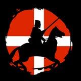 Chevalier Warrior Silhouette de l'Angleterre sur le fond noir Images stock