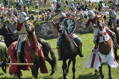 Chevaliers combattant à cheval Photographie stock
