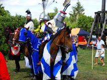 Chevaliers joutant, château de Wenecja, Pologne Images stock