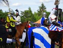 Chevaliers joutant, château de Wenecja, Pologne Photographie stock libre de droits