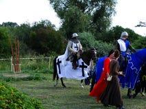 Chevaliers joutant, château de Wenecja, Pologne Photos libres de droits