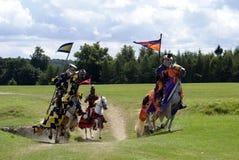 Chevaliers joutants, guerriers, chevaux d'équitation de combattants Images stock