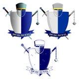 Chevaliers médiévaux armure et armes Image stock