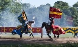 Chevaliers médiévaux au château de Warwick photo libre de droits