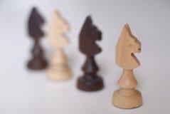Chevaliers noirs et blancs d'échecs Image libre de droits