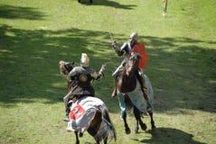Chevaliers sur des chevaux Images libres de droits