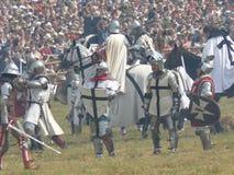 Chevaliers sur la reconstruction de la bataille de Grunwald Photos libres de droits