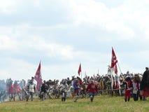 Chevaliers sur la reconstruction de la bataille de Grunwald Image libre de droits