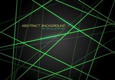 Chevauchement de croix de laser de lumière de Ligne Verte de résumé sur le vecteur futuriste de fond de technologie moderne gr illustration de vecteur