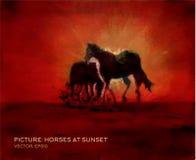 Chevaux au coucher du soleil, peinture à l'huile sur la soie dans le vecteur Photo libre de droits