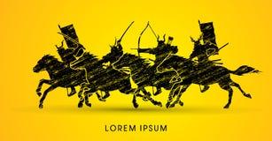 Chevaux d'équitation samouraïs de guerriers illustration libre de droits