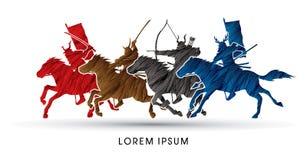 Chevaux d'équitation samouraïs de guerriers illustration de vecteur