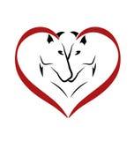 Chevaux dans le logo d'amour Photographie stock