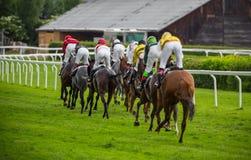 Chevaux de course avec des jockeys sur la maison directement Image libre de droits