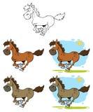 Chevaux de dessin animé exécutant le ramassage Image libre de droits