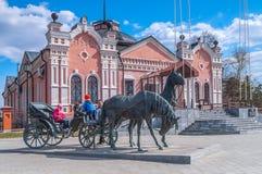Chevaux en bronze au musée provincial Tobolsk Photographie stock libre de droits