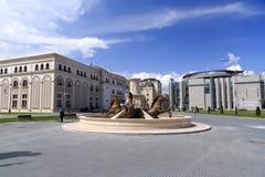 Chevaux fontaine, place de Phillip II, Skopje, Macédoine Photos stock