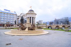 Chevaux fontaine, place de Phillip II, Skopje, Macédoine Photographie stock